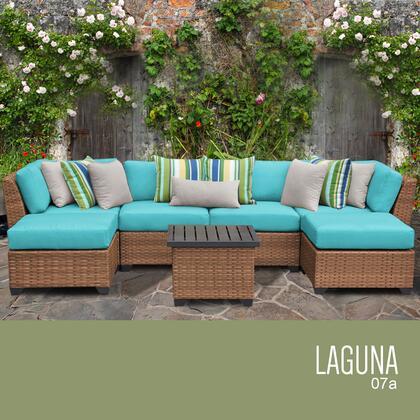 LAGUNA-07a-ARUBA Laguna 7 Piece Outdoor Wicker Patio Furniture Set 07a with 2 Covers: Wheat and