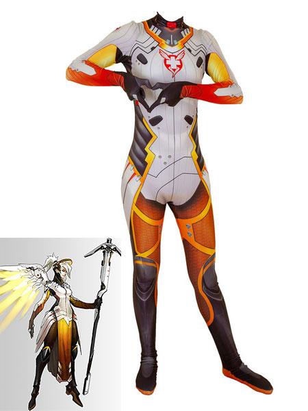 Milanoo Overwatch Cosplay Costumes Angela Ziegler Orange Red Lycra Spandex Jumpsuit Game Leotard Game Cosplay Costumes