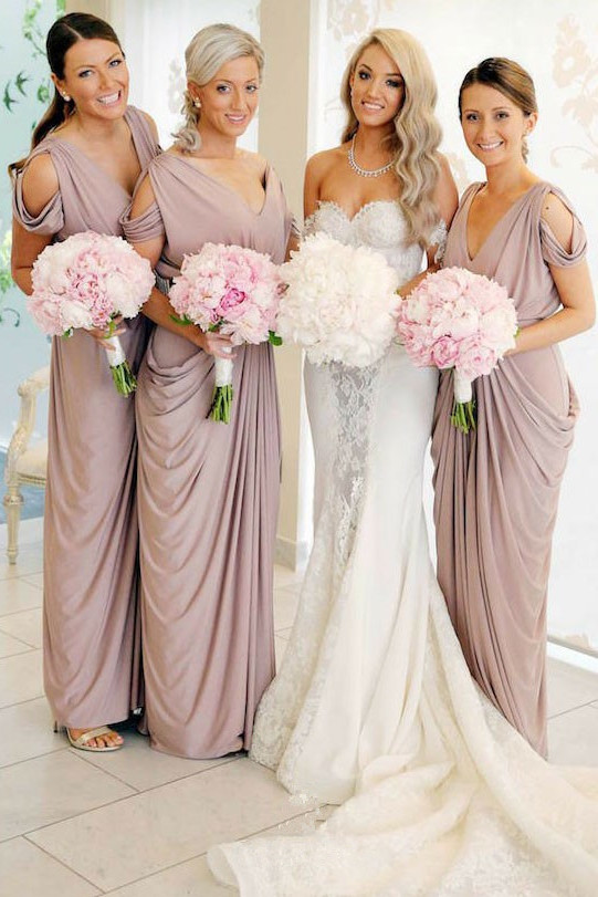 Simple V-Neck Sheath Bridesmaid Dresses | Floor Length Ruffles Evening Dress