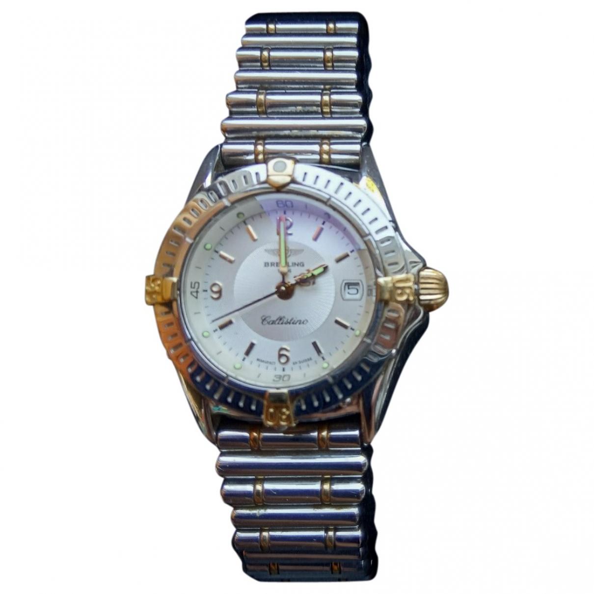 Breitling \N Silver Steel watch for Men \N