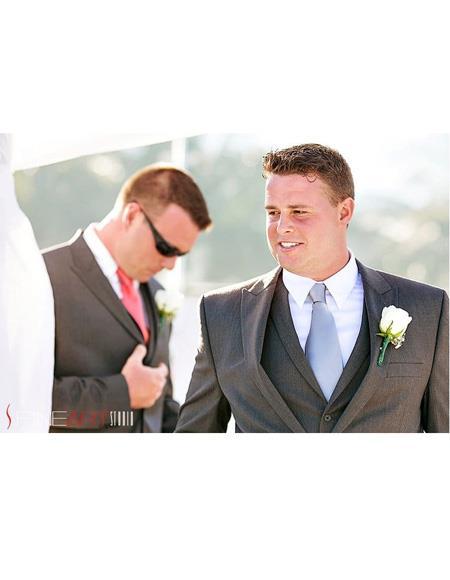 Mens Beach Wedding Attire Suit Menswear Dark Grey 199