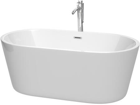 Carissa Collection WCOBT101260ATP11PC 60 White Bathtub with Acrylic Construction  Adjustable Base  Tub Filler  Floor Mounted Faucet  Pop-Up Drain