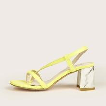 Post Toe Slingback Chunky Heeled Sandals