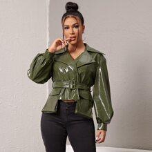 PU Jacke mit eingekerbtem Kragen, Laternenaermeln, Taschen Klappen und Guertel