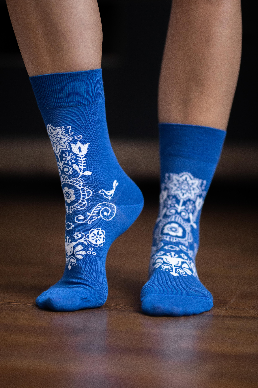 Barfuss-Socken Folk - Blau