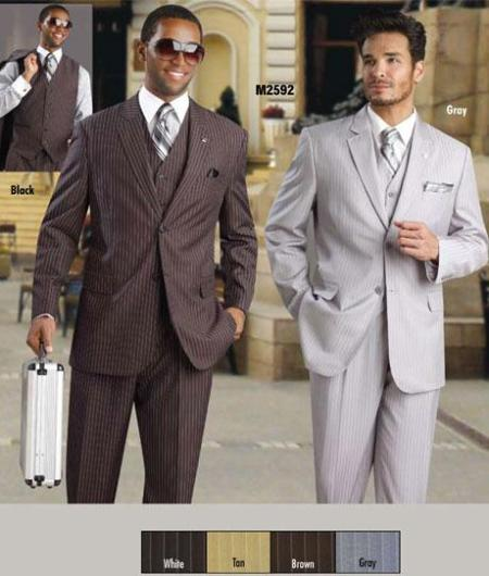 Bold with White Pinstripe 2 Button Style Vested Available in 4 Colors