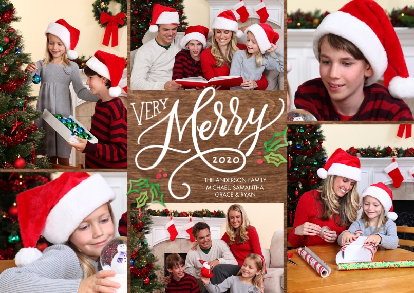Christmas Photo Cards Flat Matte Photo Paper Cards with Envelopes, 5x7, Card & Stationery -Christmas 2020 Very Merry by Tumbalina