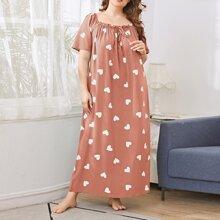 Plus Heart Print Frill Trim Tie Front Night Dress