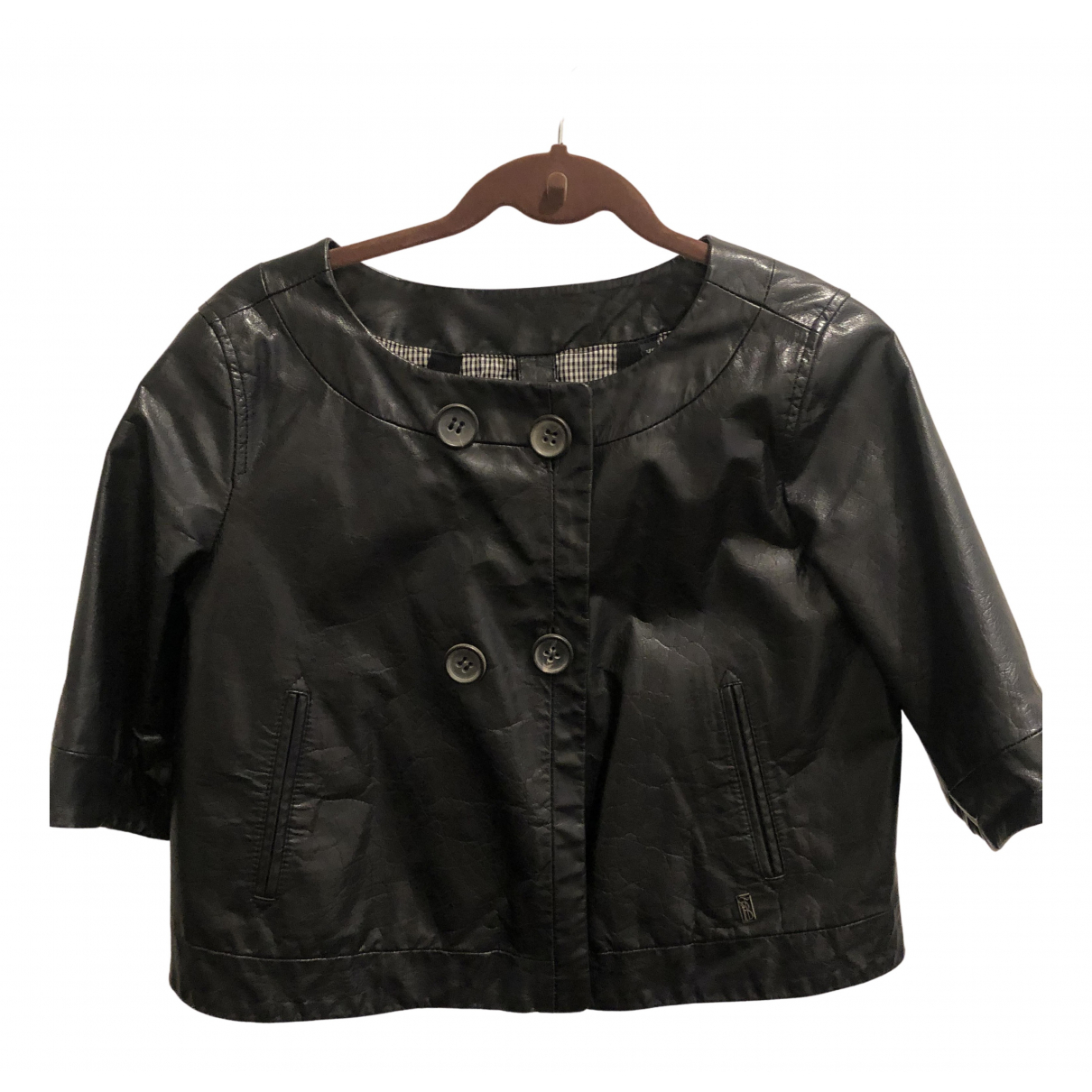 Burberry N Black Leather jacket for Women XS International