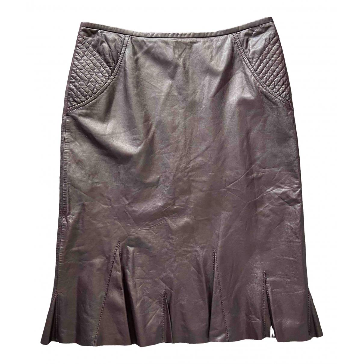 Marc Cain \N Burgundy Leather skirt for Women 10 UK