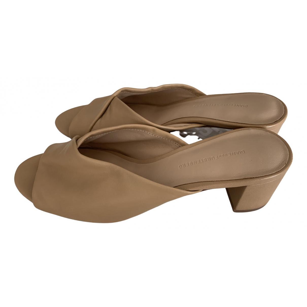 Diane Von Furstenberg - Sandales   pour femme en cuir - beige