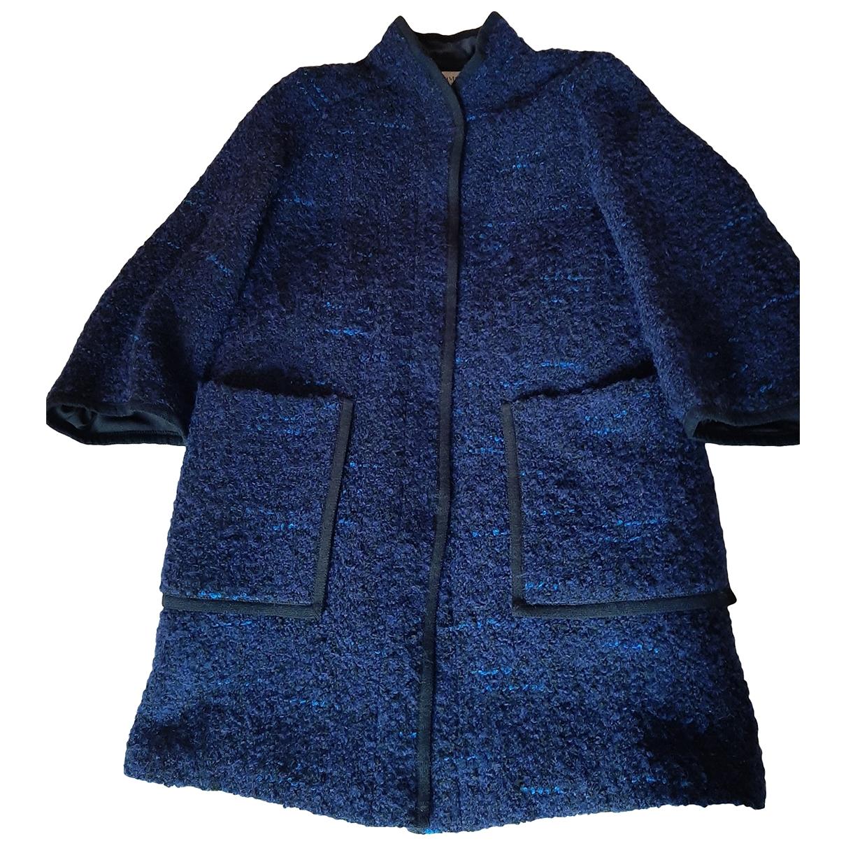 Armani Collezioni - Manteau   pour femme en laine - marine