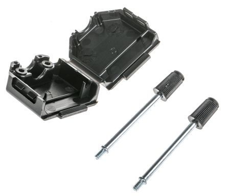 TE Connectivity , 1991253 PA D-sub Connector Backshell, 9 Way, Black