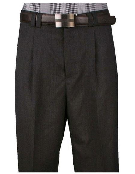 Mens Light Weight Wide Leg Single Pleat Charcoal Pant