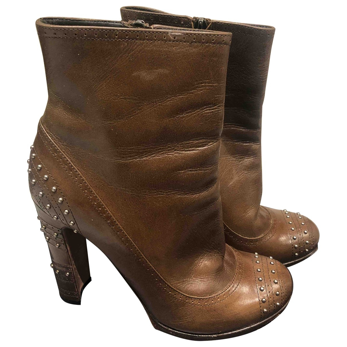 Prada \N Brown Leather Ankle boots for Women 37.5 EU