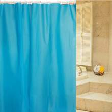 Einfarbiger Duschvorhang & 12 Stuecke Haken