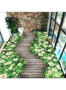 Path Through the White Flowers Pattern Natural Home Decorative Waterproof 3D Floor Murals