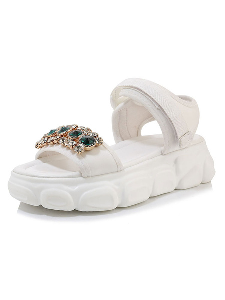 Milanoo White Flat Sandals Embellished Beach Comfy Open Toe Plus Size Shoes