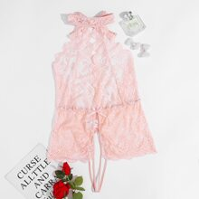Plus Floral Lace Scalloped Crotchless Teddy Bodysuit
