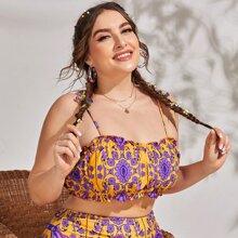 Bikini Badeanzug mit Stamm & Blumen Muster und Ruesche