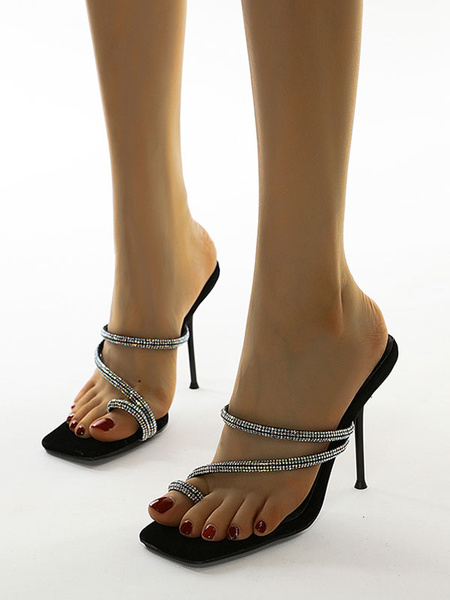 Milanoo Women\'s Sandals Square Open Toe Stiletto Rhinestone Rave Club Summer Shoes
