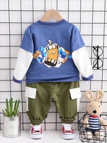 Toddler Boys Contrast Sleeve Letter Graphic Sweatshirt With Cargo Pants