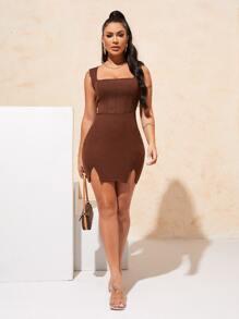Seam  Front Split Hem Rib-knit Dress