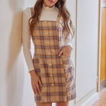 Plaid Button Front Overall Dress