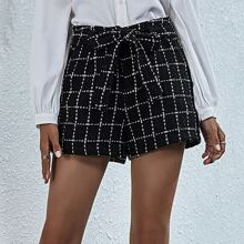 Grid Belted Tweed Shorts