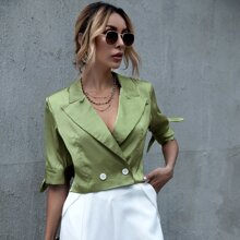 Solid Knotted Cuff Lapel Collar Blazer