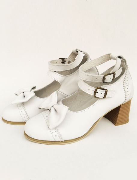 Milanoo Lolita Chunky Heels White Double Strap Sweet Lolita Shoes With Bow