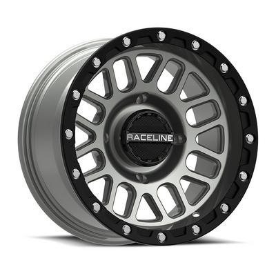 Raceline A93SG Podium UTV Wheel, 15x6 with 4 on 156 Bolt Pattern - Grey / Black - A93SG-5605640