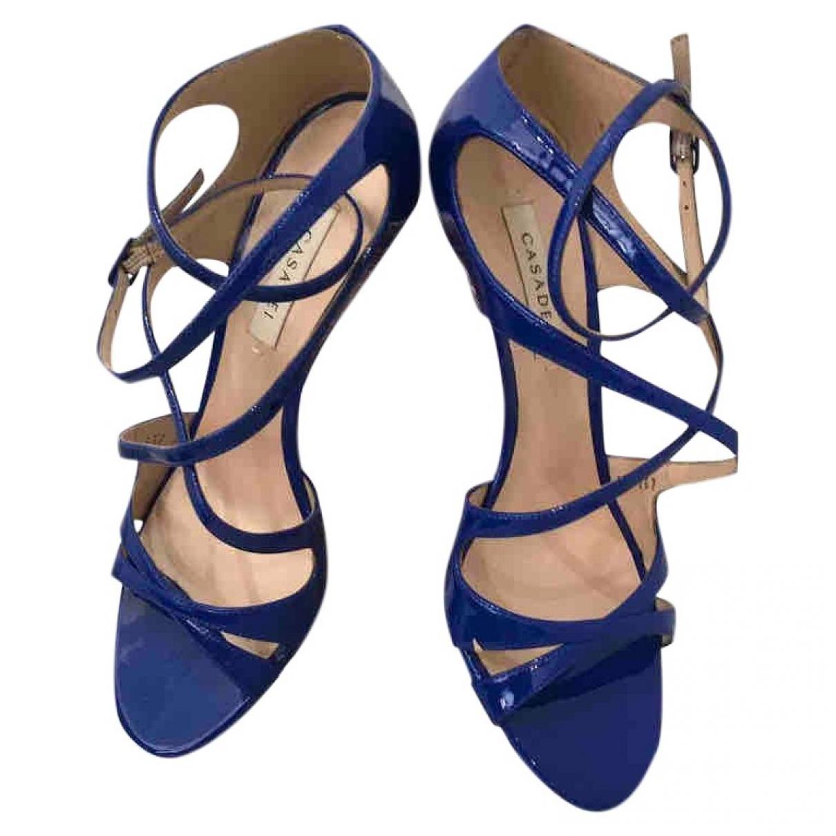 Casadei - Sandales   pour femme en cuir verni - bleu