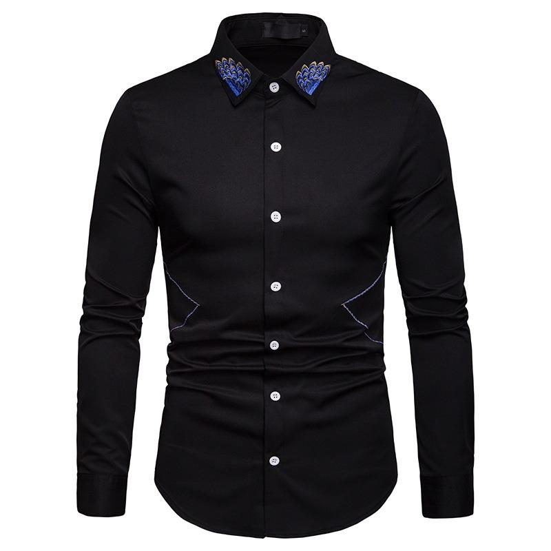 Mens Solid Color Cotton Long Sleeve Casual Shirts