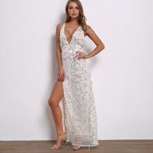 Criss-cross Plunge Neck Split Thigh Sequin Maxi Dress