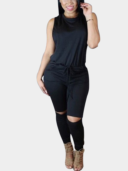 Yoins Casual Knit Sleeveless Jumpsuit in Black