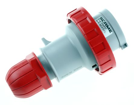 RS PRO IP66, IP67 Red Cable Mount 3P+E Industrial Power Connector Adapter Plug, Rated At 16.0A, 415.0 V,With Phase