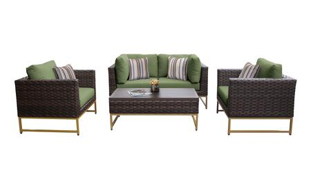 Barcelona BARCELONA-05c-GLD-CILANTRO 5-Piece Patio Set 05c with 2 Corner Chairs  2 Club Chairs and 1 Coffee Table - Beige and Cilantro Covers with