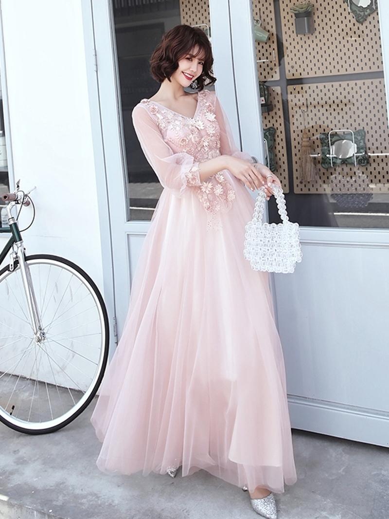 Ericdress 3/4 Length Sleeves Floor-Length Appliques V-Neck Prom Dress