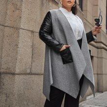 Mantel mit PU Einsatz, Taschen Flicken und Zipfelsaum