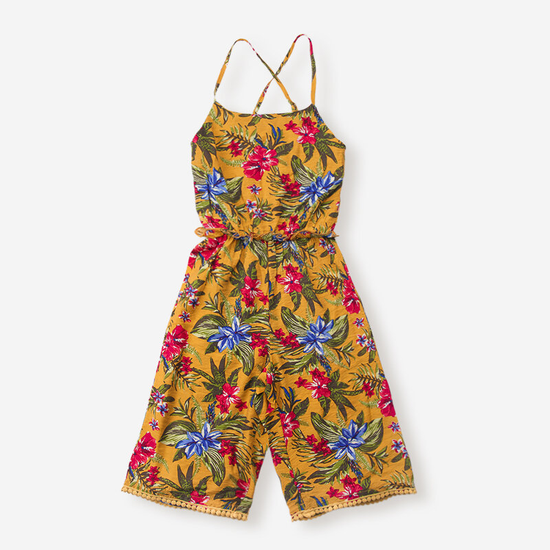 Girl's Retro Floral Print Sleeveless Casual Jumpsuit For 6-12Y