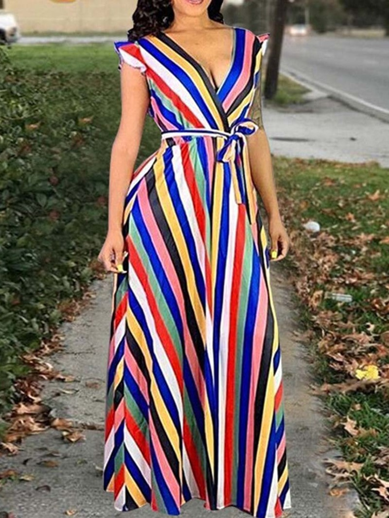 Ericdress Cap Sleeve Stringy Selvedge Floor-Length Stripe Maxi Dress