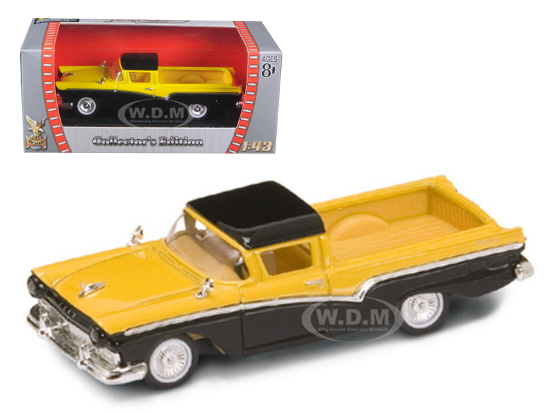 1957 Ford Ranchero Yellow/Black 1/43 Diecast Model Car by Road Signature