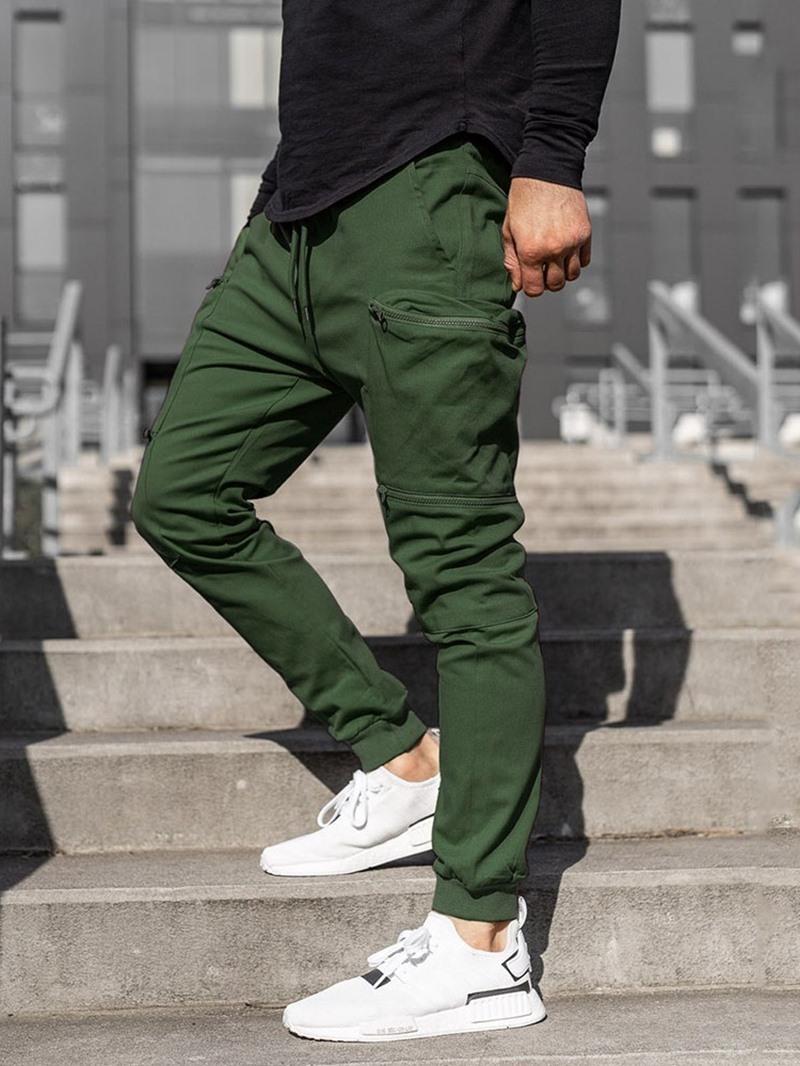 Ericdress Pencil Pants Plain Pocket Mid Waist Four Seasons Casual Pants