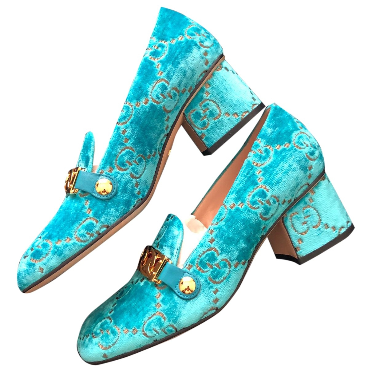 Gucci \N Turquoise Velvet Heels for Women 36 EU