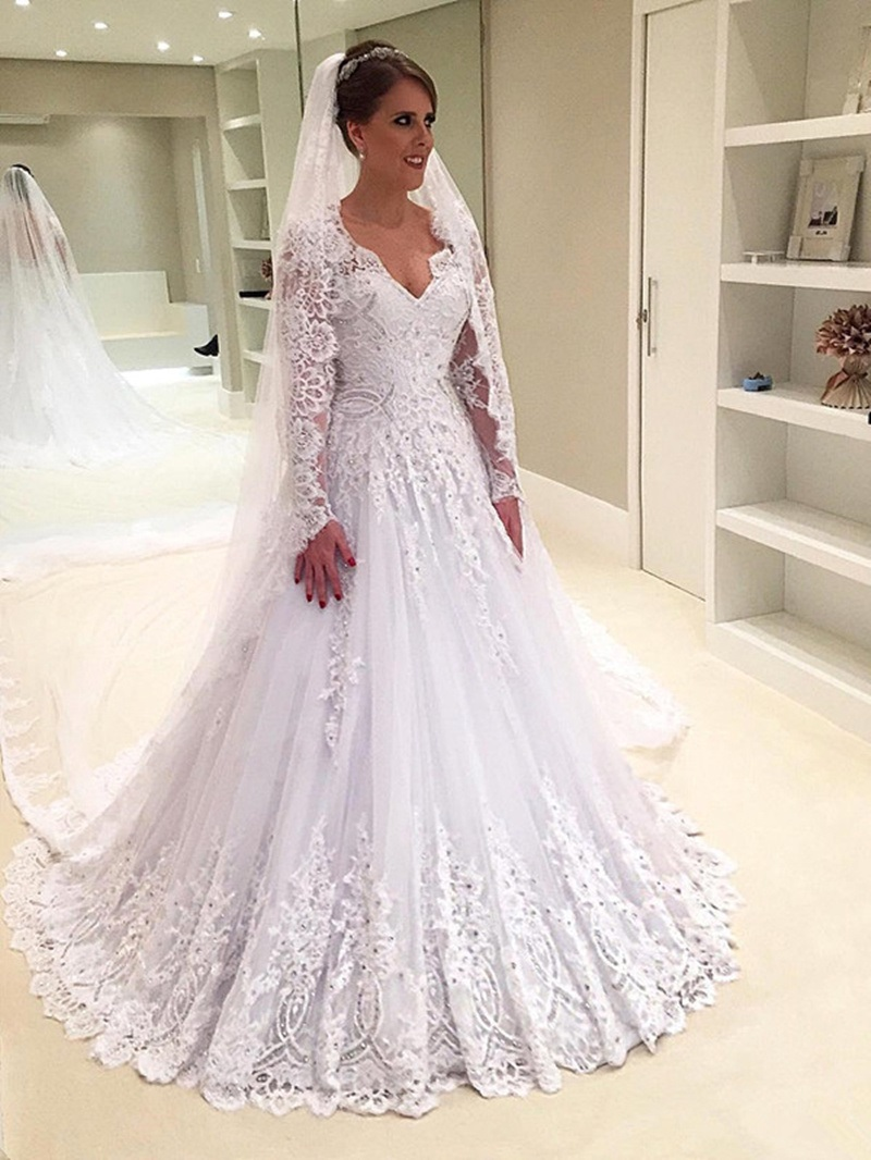 Ericdress Long Sleeves Beading Lace Wedding Dress