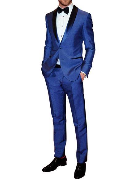Men's 2 Button Shawl Lapel Blue Single Breasted Tuxedo
