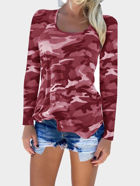 Yoins Burgundy Camouflage Pattern Round Neck T-shirt