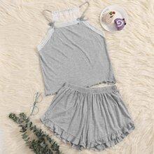 Conjunto de pijama de tirantes bajo fruncido con lazo