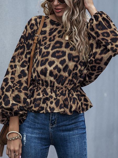 Milanoo Blusa de manga larga Estampado de leopardo Marron Cuello joya Peplum informal Camisas informales